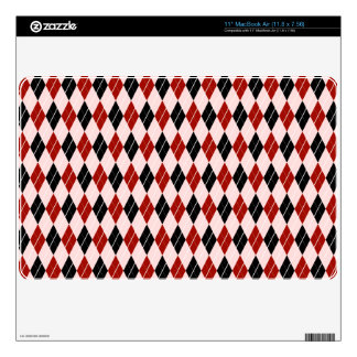 """Stylish Black and Red Argyle Plaid Pattern 11"""" MacBook Air Decal"""