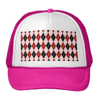 Stylish Black and Red Argyle Plaid Pattern Trucker Hat