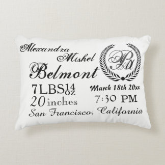 Stylish Black and White Baby Birth Keepsake Accent Pillow