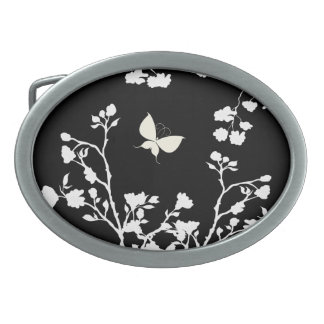 Stylish Black and White Butterfly in the Wild Belt Buckles