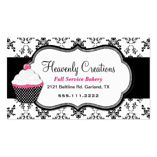 Stylish Black and White Damask Business Card