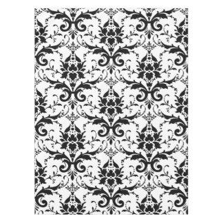 Stylish Black and White Damask Design Tablecloth