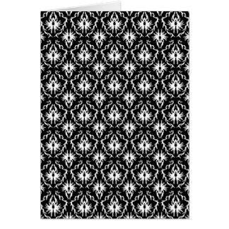 Stylish Black and White Damask Pattern. Card