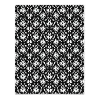 Stylish Black and White Damask Pattern. 4.25x5.5 Paper Invitation Card