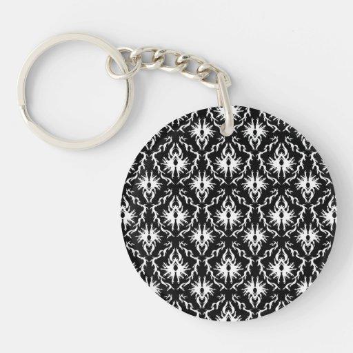 Stylish Black and White Damask Pattern. Round Acrylic Keychain