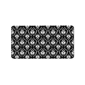 Stylish Black and White Damask Pattern. Address Label