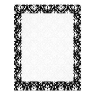 Stylish Black and White Damask Pattern. Letterhead