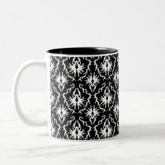 Stylish Black and White Damask Pattern. Coffee Mugs