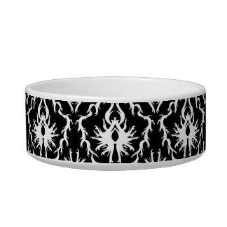 Stylish Black and White Damask Pattern. Pet Food Bowls