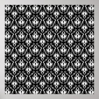 Stylish Black and White Damask Pattern. Poster