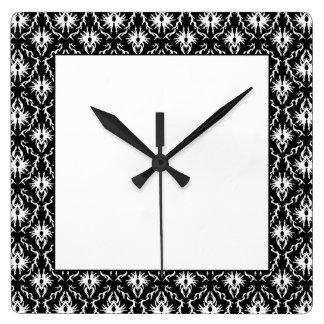 Stylish Black and White Damask Pattern. Square Wall Clock