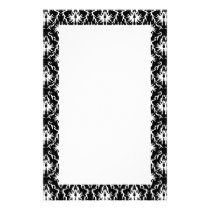 Stylish Black and White Damask Pattern. Stationery