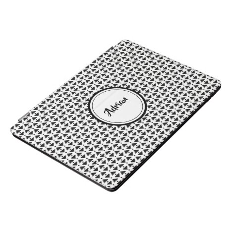 Stylish black and white diamond weave iPad pro cover