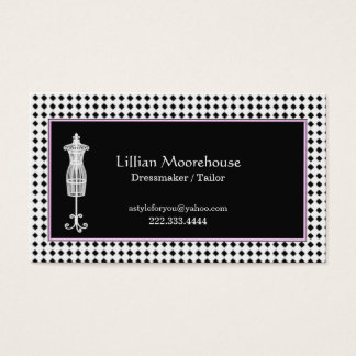 Stylish Black and White Dressmaker Business Card