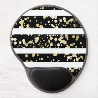 Stylish black and white faux gold confetti stripe gel mouse pad