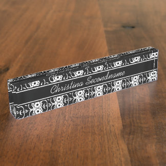 Stylish Black and white floral and leaves pattern Desk Name Plate