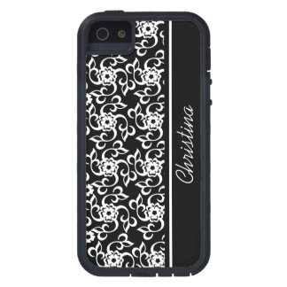 Stylish Black and white floral and leaves pattern iPhone SE/5/5s Case