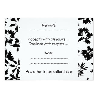Stylish Black and White Floral Pattern. 3.5x5 Paper Invitation Card