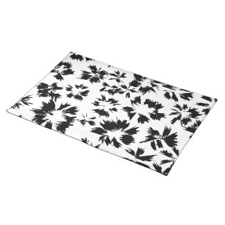 Stylish Black and White Floral Pattern. Placemat