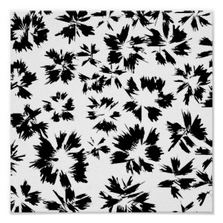Stylish Black and White Floral Pattern. Poster