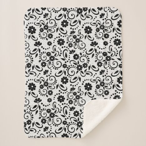 Stylish black and white floral sherpa blanket