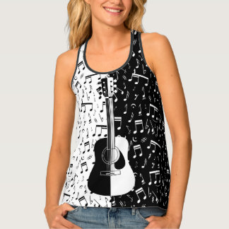 Stylish black and white guitar music note art tank top