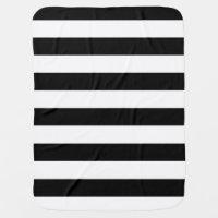 Stylish Black And White Horizontal Stripes Baby Blanket