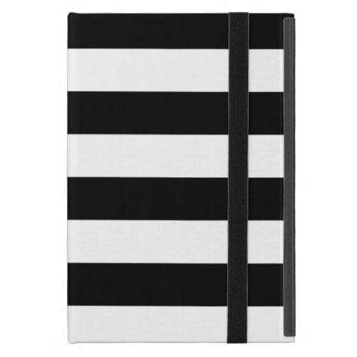 Stylish Black And White Horizontal Stripes iPad Mini Case
