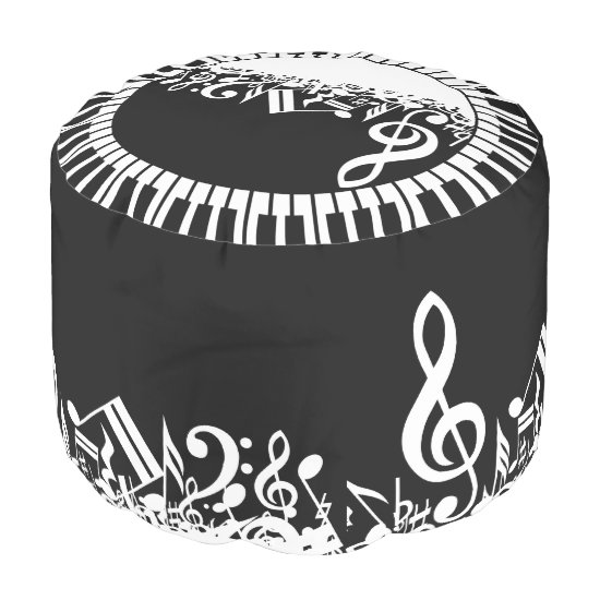 Stylish Black and White Jumbled Musical Notes Pouf
