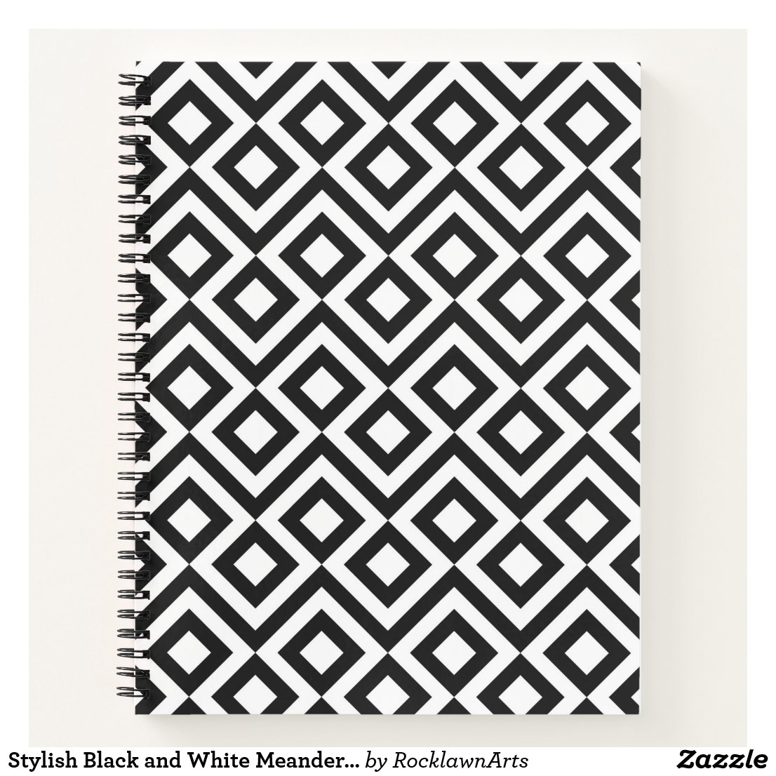 Stylish Black and White Meander Notebook