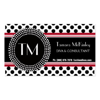 Stylish Black and White Modern PolkaDots Double-Sided Standard Business Cards (Pack Of 100)