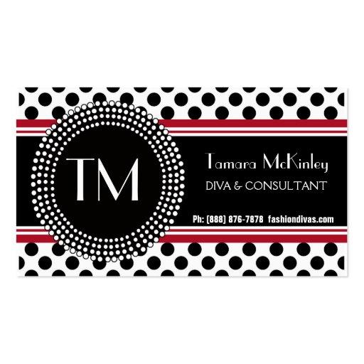 Stylish Black and White Modern PolkaDots Business Card Templates
