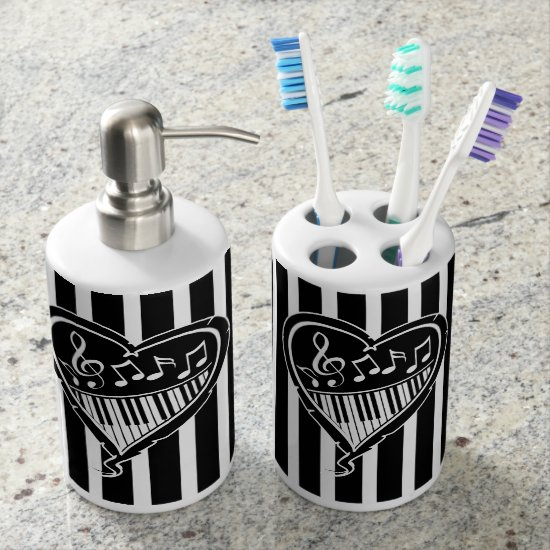 Stylish Black and white musical notes and piano Bath Set