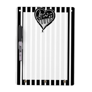Stylish Black and white musical notes and piano Dry Erase Whiteboards