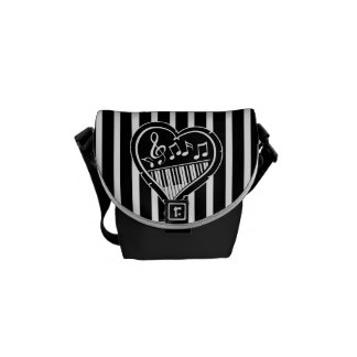 Stylish Black and white musical notes and piano Messenger Bag