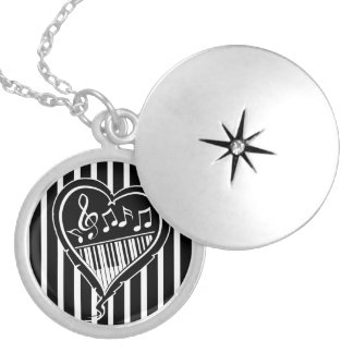 Stylish Black and white musical notes and piano Silver Plated Necklace