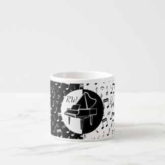 Stylish black and white Piano and music design Espresso Cup