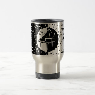 Stylish black and white Piano and music design Travel Mug