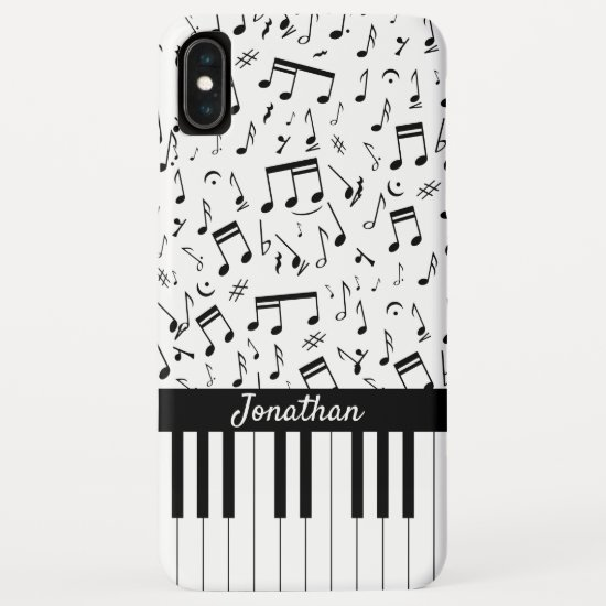 Stylish black and white piano keys iPhone XS max case
