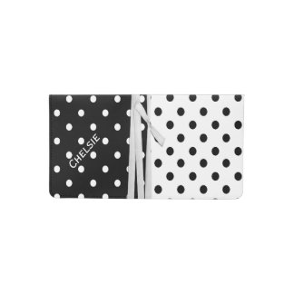 Stylish Black and White Polka Dot Check Book Cover
