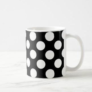 Stylish Black and White Polka Dots Pattern Coffee Mug