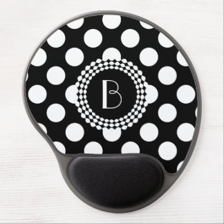 Stylish Black and White Polka Dots Pattern Gel Mouse Pad