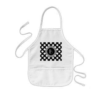 Stylish Black and White Polka Dots Pattern Kids' Apron