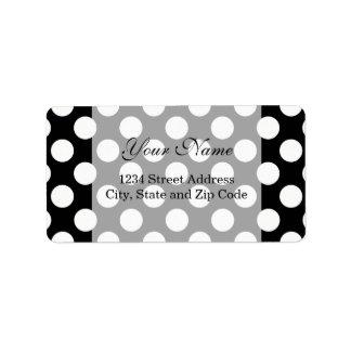Stylish Black and White Polka Dots Pattern Address Label