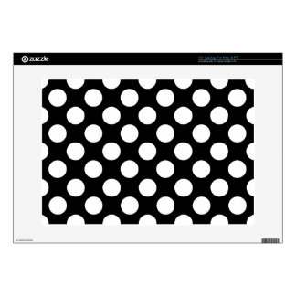 Stylish Black and White Polka Dots Pattern Laptop Skins