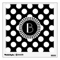 Stylish Black and White Polka Dots Pattern Wall Decal