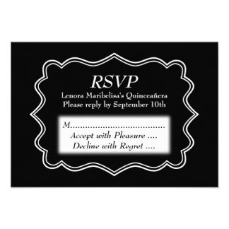 Stylish Black and White Quinceanera Invites