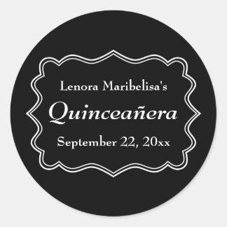Stylish Black and White Quinceanera Classic Round Sticker