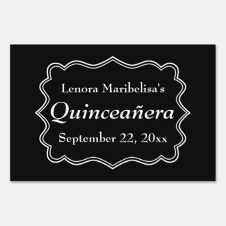 Stylish Black and White Quinceanera Lawn Signs