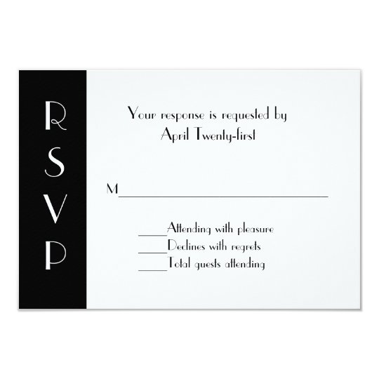 Stylish Black and White RSVP Response Card